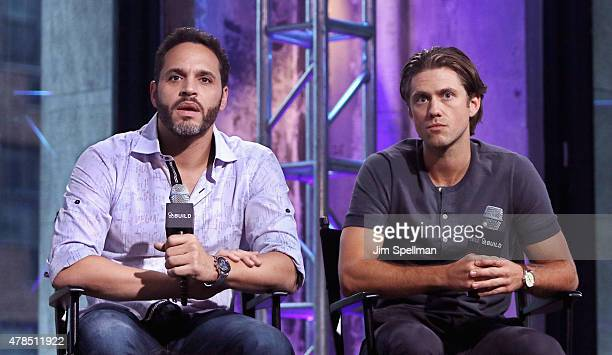 Actors Daniel Sunjata and Aaron Tveit attend the AOL BUILD Speaker Series Presents 'Graceland' at AOL Studios In New York on June 25 2015 in New York...