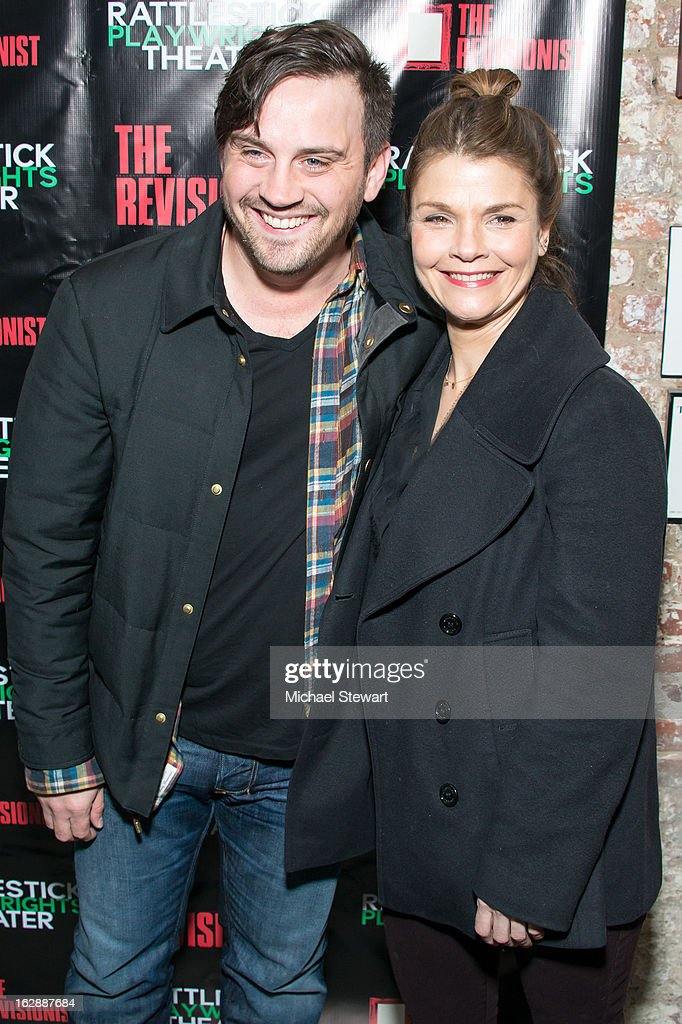 Actors Daniel Talbott (L) and <a gi-track='captionPersonalityLinkClicked' href=/galleries/search?phrase=Kathryn+Erbe&family=editorial&specificpeople=657667 ng-click='$event.stopPropagation()'>Kathryn Erbe</a> attend 'The Revisionist' Opening Night at Cherry Lane Theatre on February 28, 2013 in New York City.
