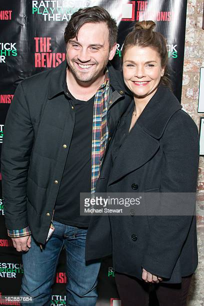Actors Daniel Talbott and Kathryn Erbe attend 'The Revisionist' Opening Night at Cherry Lane Theatre on February 28 2013 in New York City