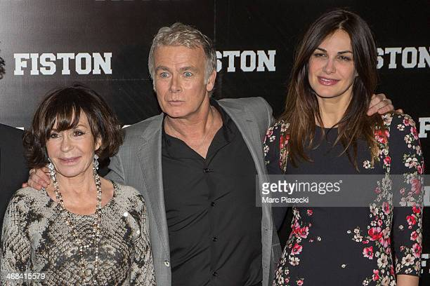 Actors Daniele Evenou Franck Dubosc and Helena Noguerra attend the 'Fiston' Paris Premiere at Le Grand Rex on February 10 2014 in Paris France