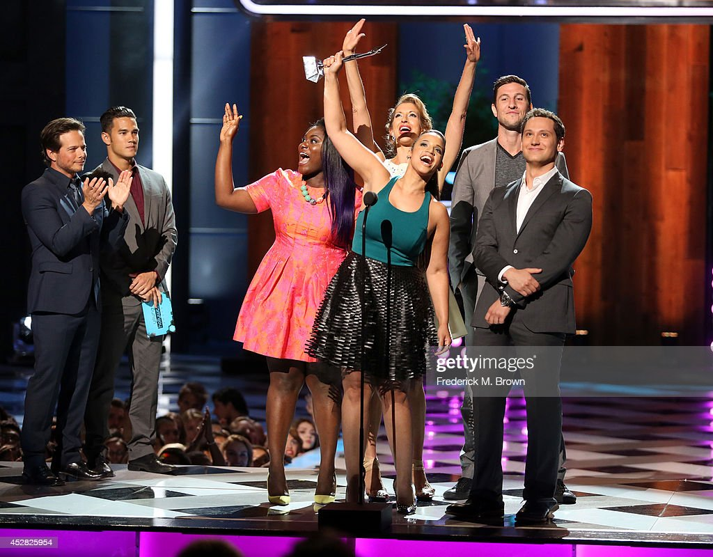 Actors <a gi-track='captionPersonalityLinkClicked' href=/galleries/search?phrase=Danielle+Brooks&family=editorial&specificpeople=8868624 ng-click='$event.stopPropagation()'>Danielle Brooks</a>, <a gi-track='captionPersonalityLinkClicked' href=/galleries/search?phrase=Alysia+Reiner&family=editorial&specificpeople=655685 ng-click='$event.stopPropagation()'>Alysia Reiner</a>, <a gi-track='captionPersonalityLinkClicked' href=/galleries/search?phrase=Dascha+Polanco&family=editorial&specificpeople=11068335 ng-click='$event.stopPropagation()'>Dascha Polanco</a>, <a gi-track='captionPersonalityLinkClicked' href=/galleries/search?phrase=Pablo+Schreiber&family=editorial&specificpeople=683536 ng-click='$event.stopPropagation()'>Pablo Schreiber</a> and <a gi-track='captionPersonalityLinkClicked' href=/galleries/search?phrase=Matt+McGorry&family=editorial&specificpeople=11068336 ng-click='$event.stopPropagation()'>Matt McGorry</a> speak onstage at the 2014 Young Hollywood Awards brought to you by Samsung Galaxy at The Wiltern on July 27, 2014 in Los Angeles, California. The Young Hollywood Awards will air on Monday, July 28 8/7c on The CW.