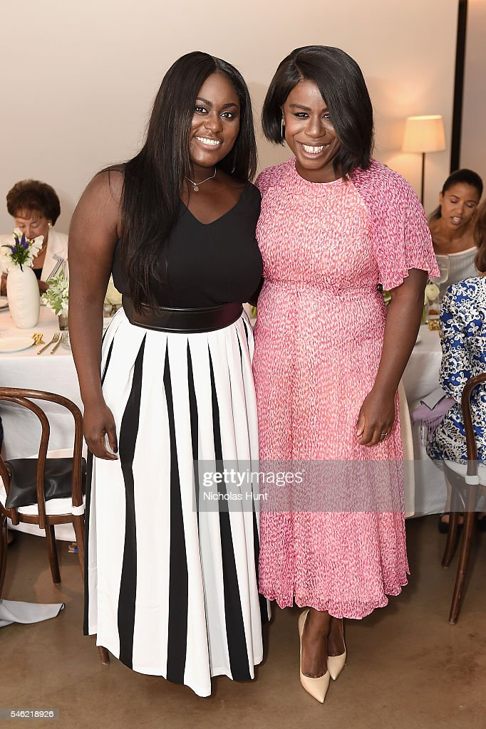 Actors Danielle Brooks (L) and Uzo Aduba attend a luncheon hosted by Glamour and Facebook to discuss the 2016 election at Samsung 837 in NYC on July 11, 2016 in New York City.