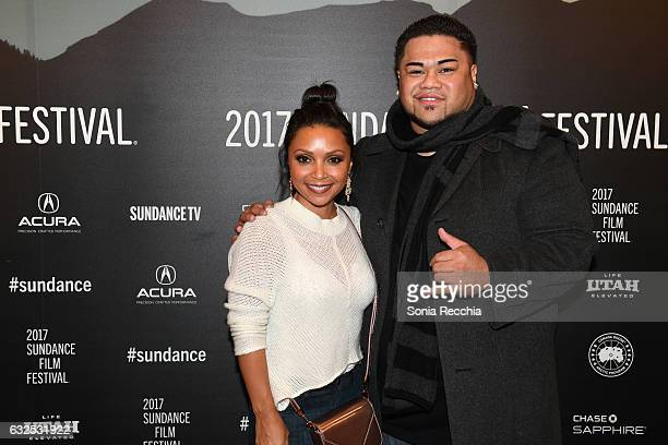 Actors Danielle Nicolet and Tua Kealoha attend the 'Deidra Laney Rob A Train' Premiere at Egyptian Theatre on January 23 2017 in Park City Utah