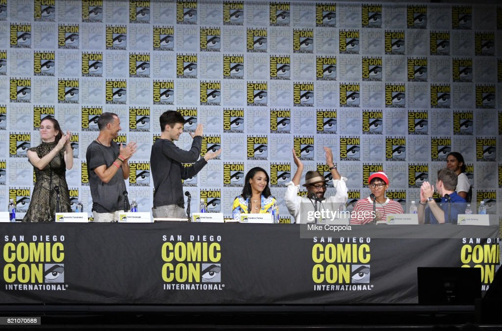 Actors Danielle Panabaker, Tom Cavanagh, Grant Gustin, Candice Patton, Jesse L. Martin, Keiynan Lonsdale, Todd Helbing and Carlos Valdes attend the 'The Flash' Video Presentation And Q+A during Comic-Con International 2017 at San Diego Convention Center on July 22, 2017 in San Diego, California.