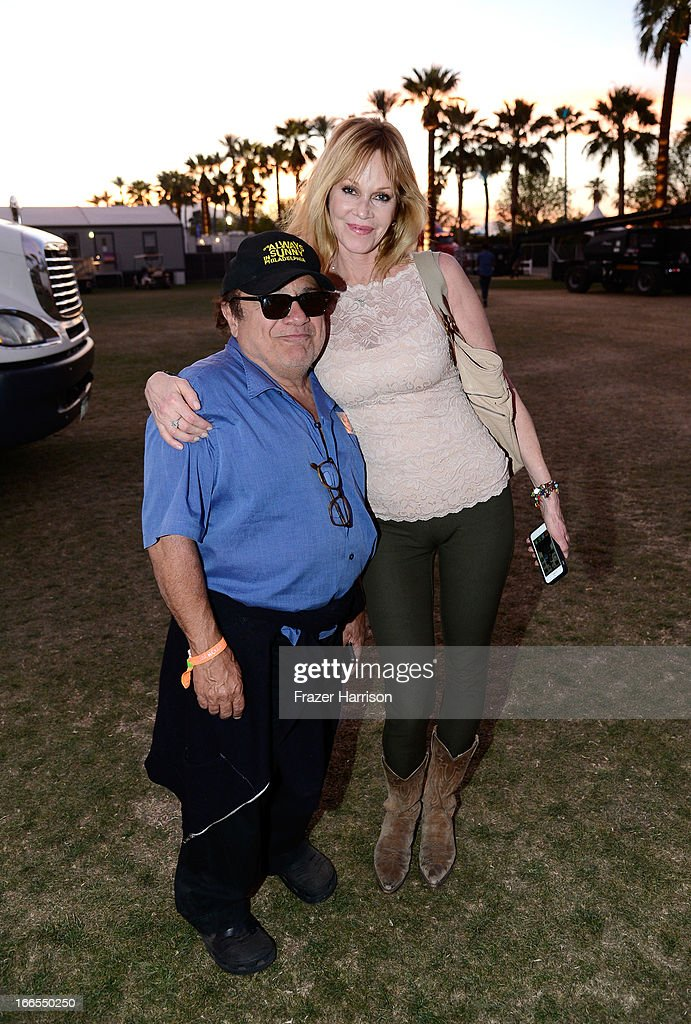 Actors <a gi-track='captionPersonalityLinkClicked' href=/galleries/search?phrase=Danny+DeVito&family=editorial&specificpeople=210718 ng-click='$event.stopPropagation()'>Danny DeVito</a> and <a gi-track='captionPersonalityLinkClicked' href=/galleries/search?phrase=Melanie+Griffith&family=editorial&specificpeople=171682 ng-click='$event.stopPropagation()'>Melanie Griffith</a> attend day 2 of the 2013 Coachella Valley Music & Arts Festival at The Empire Polo Club on April 13, 2013 in Indio, California.