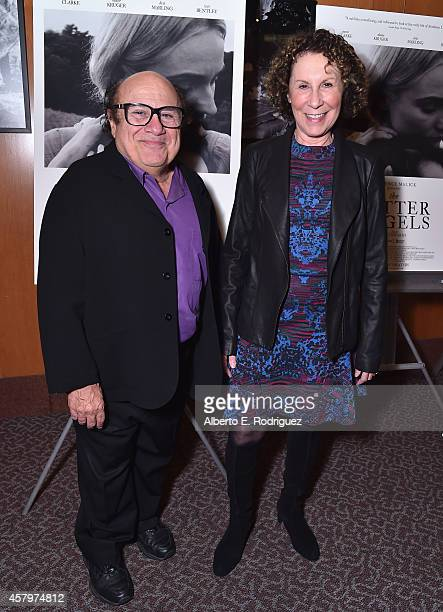 Actors Danny DeVito and Rhea Pearlman attend the premiere of Amplify's 'The Better Angels' at DGA Theater on October 27 2014 in Los Angeles California