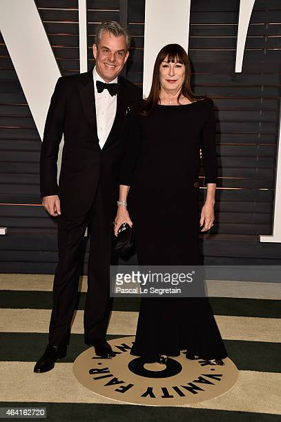 Actors Danny Huston and Anjelica Huston attend the 2015 Vanity Fair Oscar Party hosted by Graydon Carter at Wallis Annenberg Center for the...