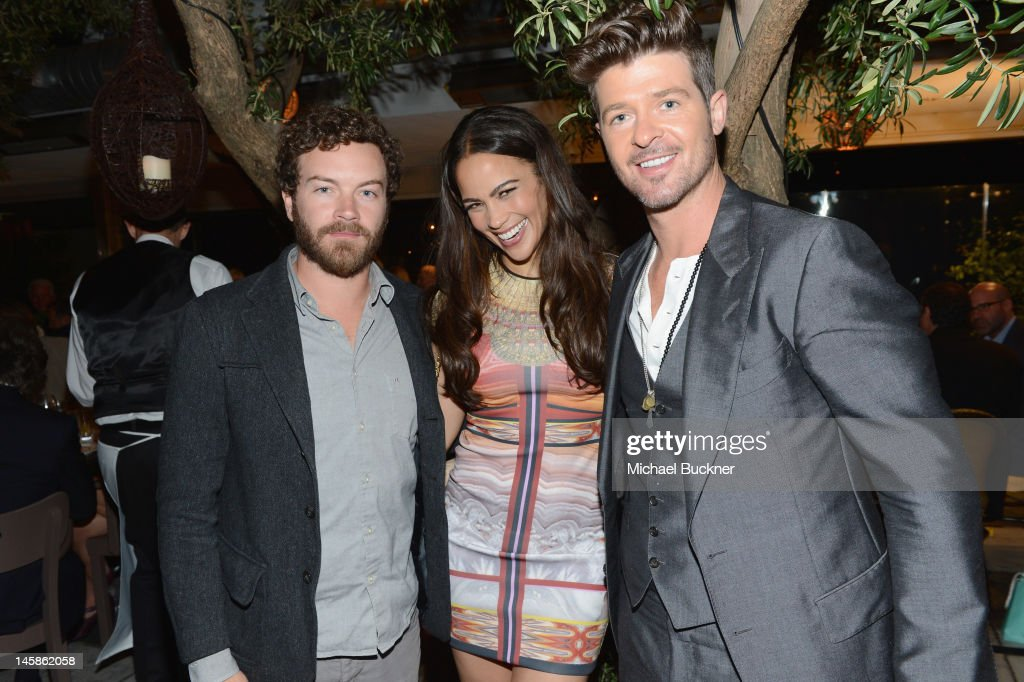 Actors <a gi-track='captionPersonalityLinkClicked' href=/galleries/search?phrase=Danny+Masterson&family=editorial&specificpeople=239512 ng-click='$event.stopPropagation()'>Danny Masterson</a>, <a gi-track='captionPersonalityLinkClicked' href=/galleries/search?phrase=Paula+Patton&family=editorial&specificpeople=752812 ng-click='$event.stopPropagation()'>Paula Patton</a> and singer <a gi-track='captionPersonalityLinkClicked' href=/galleries/search?phrase=Robin+Thicke&family=editorial&specificpeople=724390 ng-click='$event.stopPropagation()'>Robin Thicke</a> attend the Sundance Institute Benefit presented by Tiffany & Co. in Los Angeles held at Soho House on June 6, 2012 in West Hollywood, California.