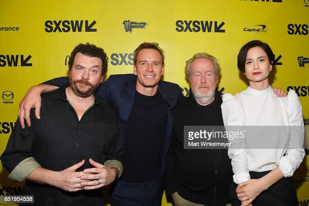 Actors Danny McBride Michael Fassbender director Sir Ridley Scott and actress Katherine Waterston attend the 'Alien' premiere 2017 SXSW Conference...