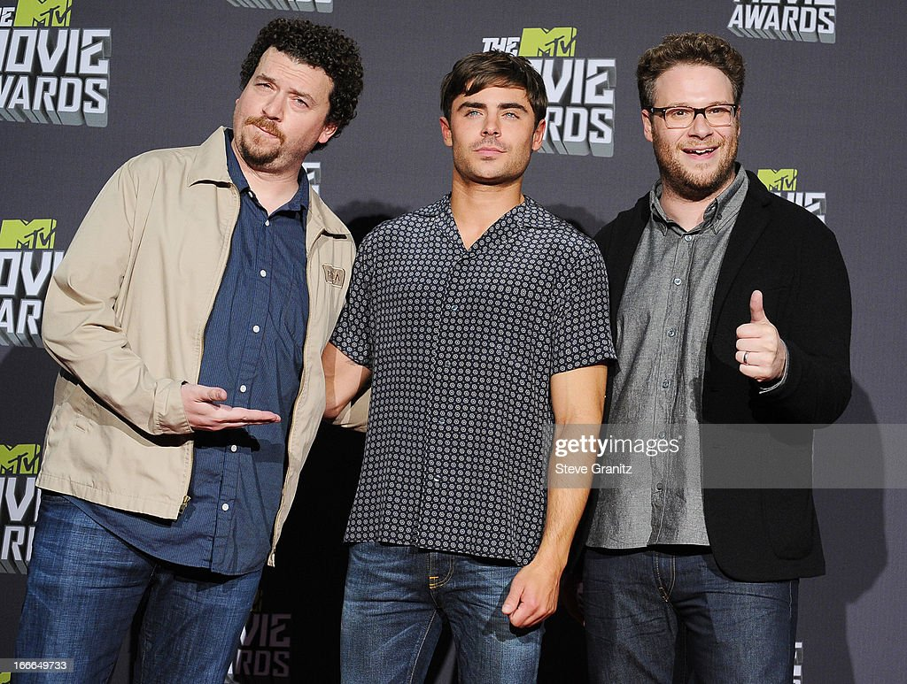 Actors Danny McBride, <a gi-track='captionPersonalityLinkClicked' href=/galleries/search?phrase=Zac+Efron&family=editorial&specificpeople=533070 ng-click='$event.stopPropagation()'>Zac Efron</a> and <a gi-track='captionPersonalityLinkClicked' href=/galleries/search?phrase=Seth+Rogen&family=editorial&specificpeople=3733304 ng-click='$event.stopPropagation()'>Seth Rogen</a> pose in the press room during the 2013 MTV Movie Awards at Sony Pictures Studios on April 14, 2013 in Culver City, California.