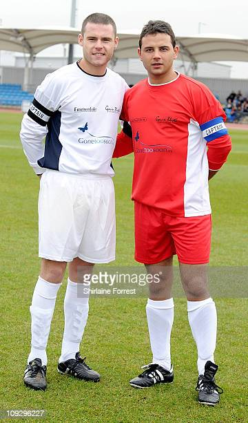 Actors Danny Miller and Ryan Thomas captain a football match in memory of their former colleague Gavin Blyth in aid of Macmillan Cancer Support at...
