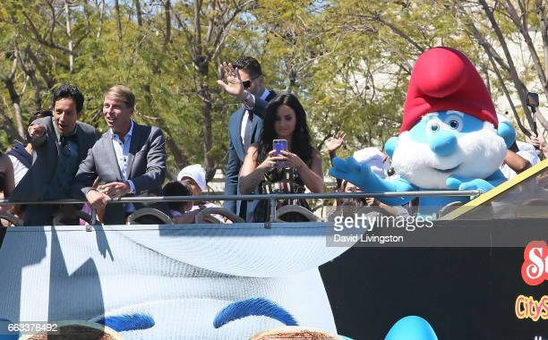 Actors Danny Pudi Jack McBrayer Joe Manganiello and Demi Lovato attend the premiere of Sony Pictures' 'Smurfs The Lost Village' at ArcLight Cinemas...