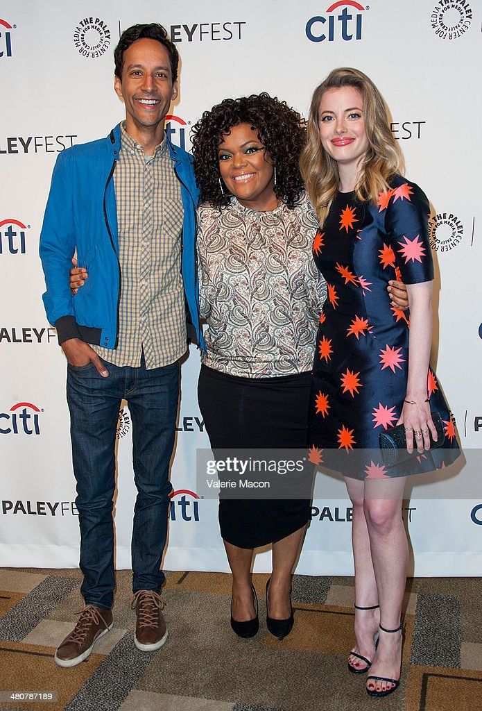 Actors Danny Pudi Yvette Nicole Brown and Gillian Jacobs attend The Paley Center For Media's PaleyFest 2014 Honoring 'Community' at Dolby Theatre on...