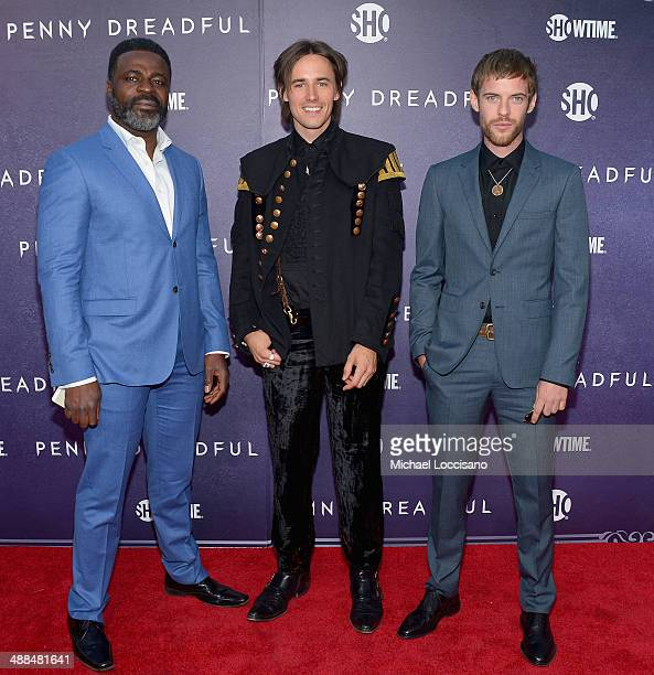 Actors Danny Sapani Reeve Carney and Harry Treadaway arrive at Showtime's 'PENNY DREADFUL' world premiere at The High Line Hotel on May 6 2014 in New...