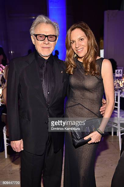 Actors Daphna Kastner and Harvey Keitel attend the 2016 amfAR New York Gala at Cipriani Wall Street on February 10 2016 in New York City