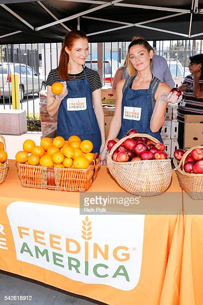 Actors Darby Stanchfield and Ashley Greene volunteer at Para Los Ninos Charter Elementary as a part of the Feeding America LA Regional Food Bank 'Put...