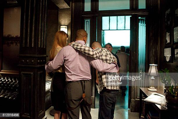 Actors Darby Stanchfield Guillermo Diaz and Columbus Short are photographed on set of ABC's 'Scandal' for The Hollywood Reporter on March 14 2013 in...