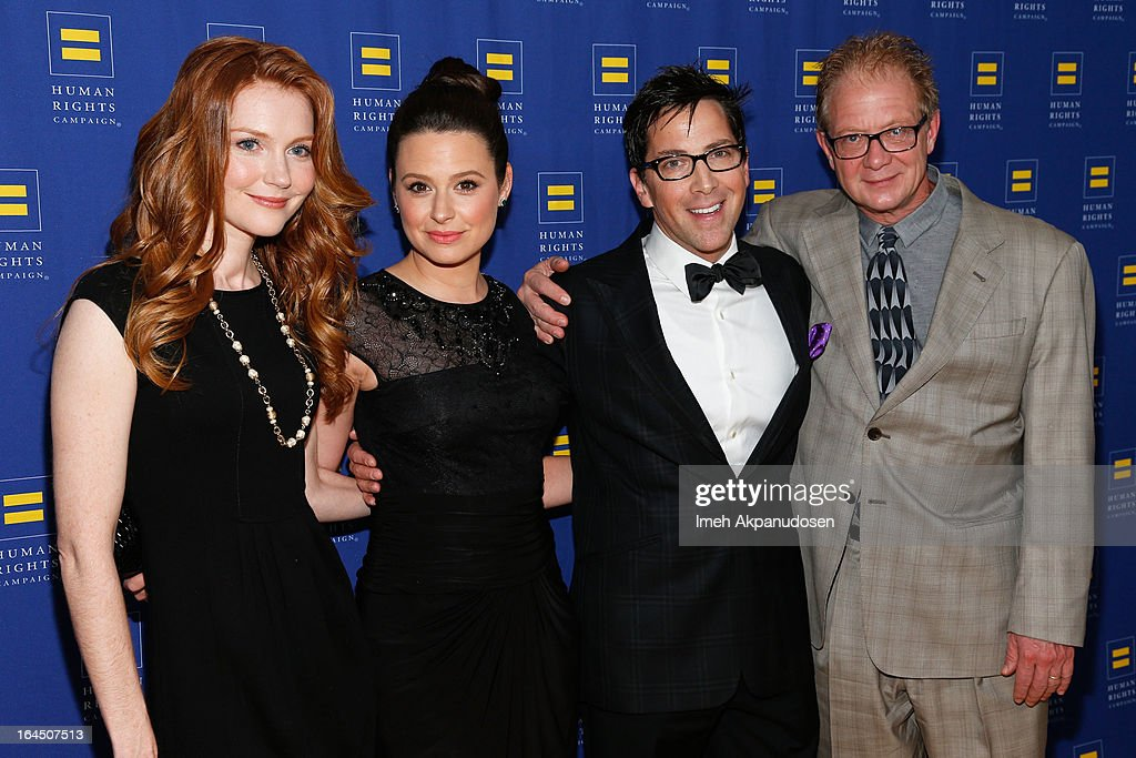 Actors Darby Stanchfield, Katie Lowes, <a gi-track='captionPersonalityLinkClicked' href=/galleries/search?phrase=Dan+Bucatinsky&family=editorial&specificpeople=2363542 ng-click='$event.stopPropagation()'>Dan Bucatinsky</a>, and Jeff Perry attend the 2013 Human Rights Campaign Los Angeles Gala at JW Marriott Los Angeles at L.A. LIVE on March 23, 2013 in Los Angeles, California.