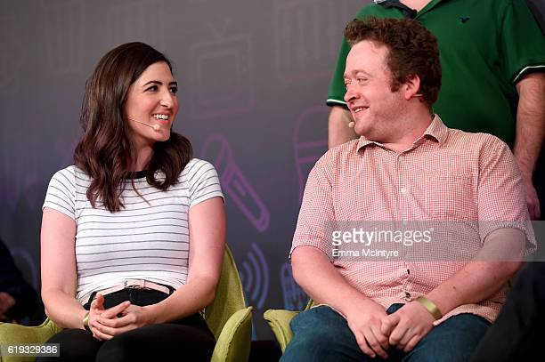 Actors D'Arcy Carden and Neil Casey speak onstage during the 'Comedy Improv AllStars Showcase' panel at Entertainment Weekly's PopFest at The Reef on...