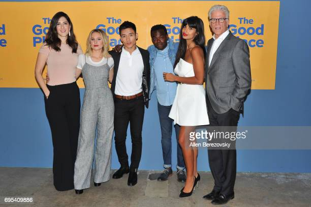 Actors D'Arcy Carden Kristen Bell Manny Jacinto William Jackson Harper Jameela Jamil and Ted Danson attend NBC's 'The Good Place' FYC at UCB Sunset...