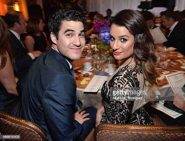 Actors Darren Criss and Lea Michele attend the Jonsson Cancer Center Foundation's 19th Annual 'A Taste For A Cure' at The Regent Beverly Wilshire...