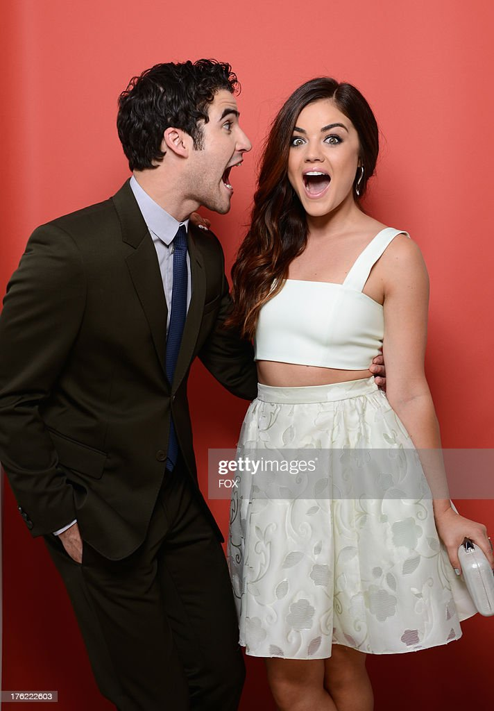 Actors <a gi-track='captionPersonalityLinkClicked' href=/galleries/search?phrase=Darren+Criss&family=editorial&specificpeople=7341435 ng-click='$event.stopPropagation()'>Darren Criss</a> (L) and Lucy Hale attend Fox Teen Choice Awards 2013 held at the Gibson Amphitheatre on August 11, 2013 in Los Angeles, California.