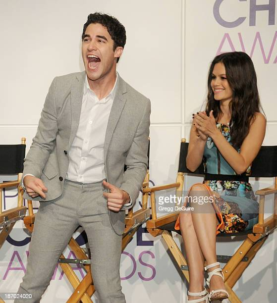 Actors Darren Criss and Rachel Bilson attend the 2014 People's Choice Awards Nominations announcement at The Paley Center for Media on November 5...