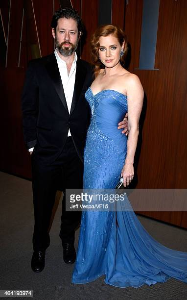 Actors Darren Le Gallo and Amy Adams attend the 2015 Vanity Fair Oscar Party hosted by Graydon Carter at the Wallis Annenberg Center for the...