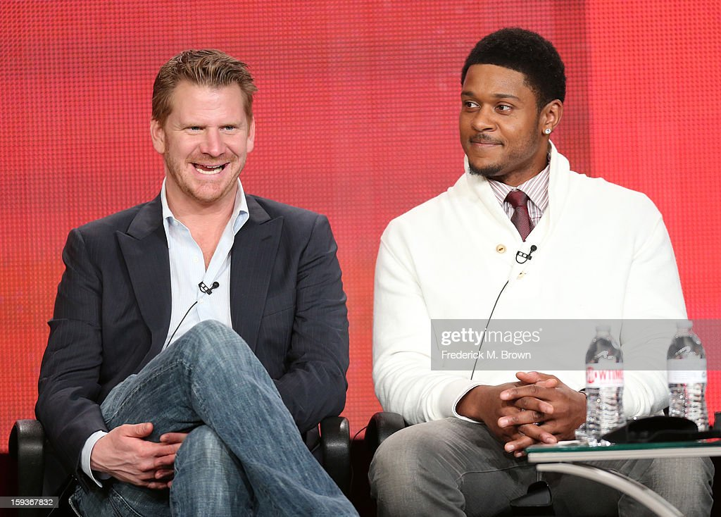 Actors Dash Mihok and Pooch Hall of 'Ray Donovan' speak onstage during the Showtime portion of the 2013 Winter TCA Tour at Langham Hotel on January 12, 2013 in Pasadena, California.