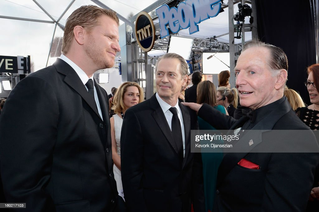 Actors Dash Mihok, Steve Buscemi, and Paul Herman arrive at the 19th Annual Screen Actors Guild Awards held at The Shrine Auditorium on January 27, 2013 in Los Angeles, California.