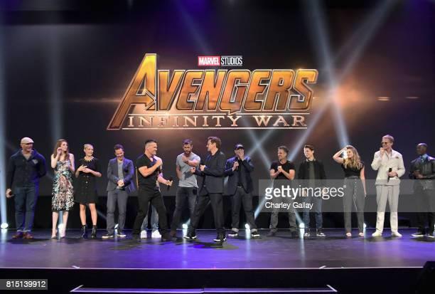 Actors Dave Bautista Karen Gillan Pom Klementieff Benedict Cumberbatch Josh Brolin Chris Hemsworth and Robert Downey Jr producer Kevin Feige and...