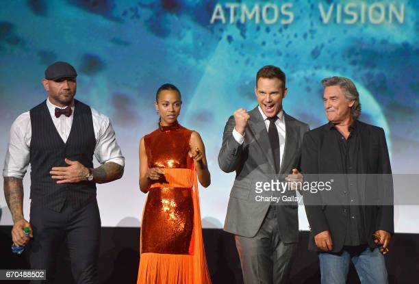 "Actors Dave Bautista Zoe Saldana Chris Pratt and Kurt Russell at The World Premiere of Marvel Studios' ""Guardians of the Galaxy Vol 2"" at Dolby..."