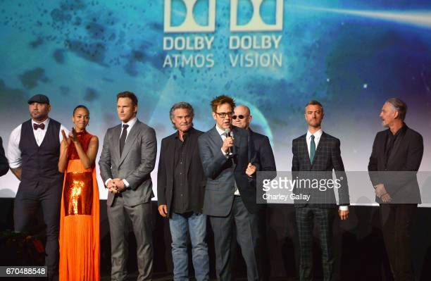 Actors Dave Bautista Zoe Saldana Chris Pratt Kurt Russell Michael Rooker Sean Gunn Tommy Flanagan and director James Gunn at The World Premiere of...