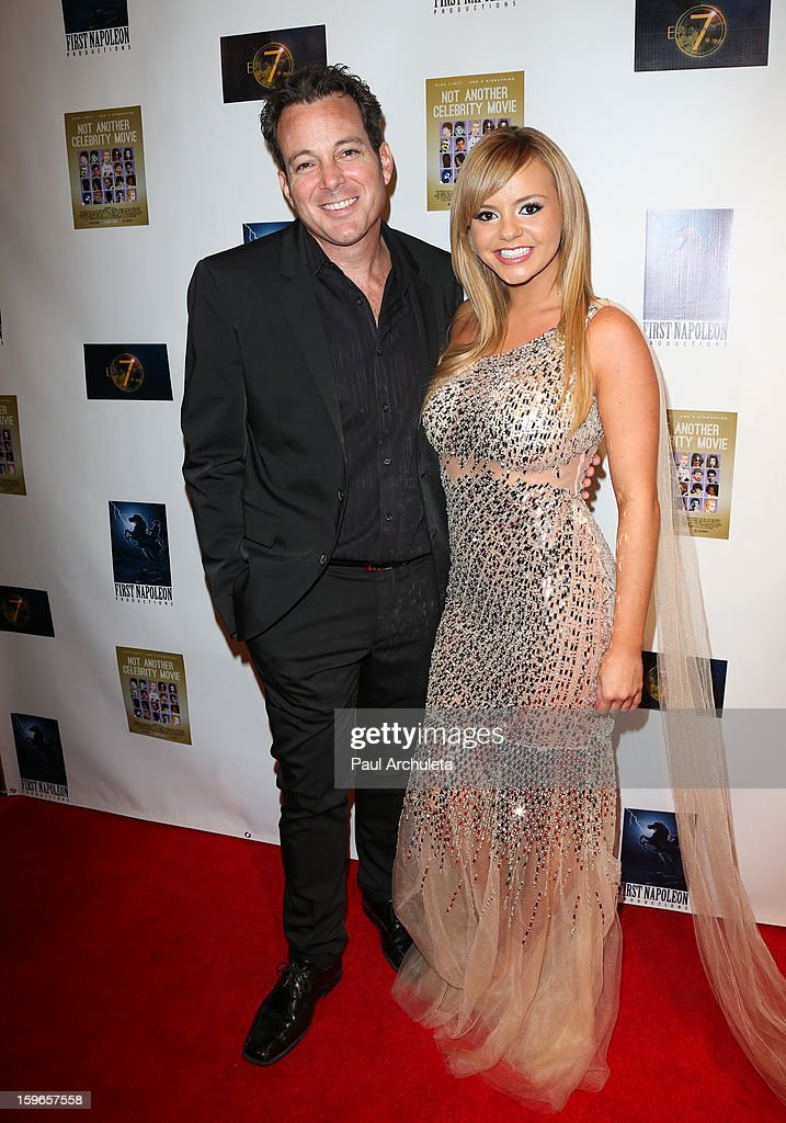 Actors Dave Burleigh (L) and Bree Olson (R) attend the premiere for 'Not Another Celebrity Movie' at Pacific Design Center on January 17, 2013 in West Hollywood, California.