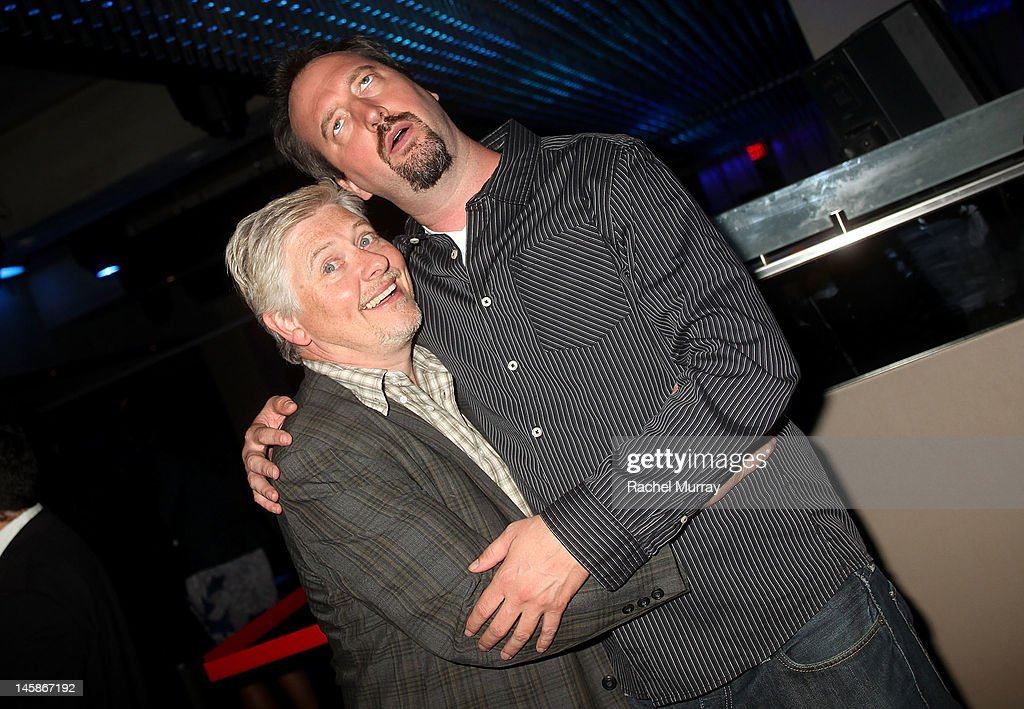 Actors Dave Foley (L) and Tom Green attend the VIP red carpet cocktail party hosted by WIKIPAD and NVIDIA as part of the celebrations for E3, 2012 held at Elevate Lounge on June 6, 2012 in Los Angeles, California.