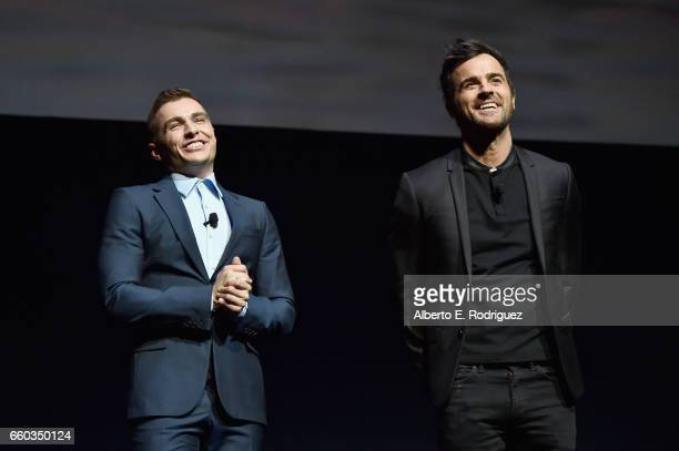 "Actors Dave Franco and Justin Theroux speak onstage during CinemaCon 2017 Warner Bros Pictures Invites You to ""The Big Picture"" an Exclusive..."