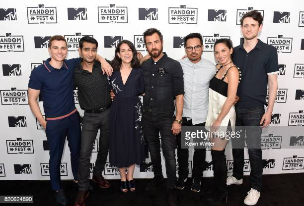 Actors Dave Franco Kumail Nanjiani Abbi Jacobson Justin Theroux Michael Pena Olivia Munn and Zach Woods attend MT Fandom Fest at PETCO Park on July...