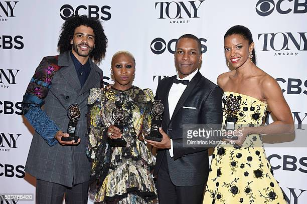 Actors Daveed Diggs Cynthia Erivo Leslie Odom Jr and Renee Elise Goldsberry pose with awards during the 70th Annual Tony Awards at The Beacon Theatre...