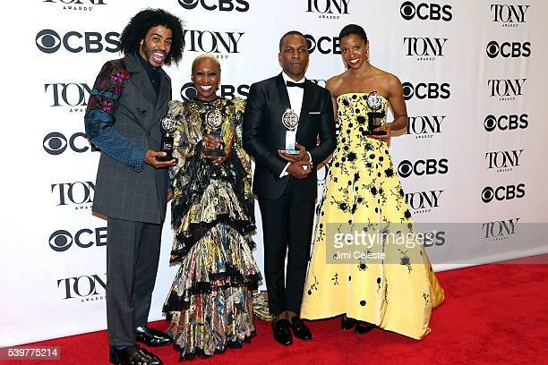 Actors Daveed Diggs Cynthia Erivo Leslie Odom Jr and Renee Elise Goldsberry attend 2016 Tony Awards Media Room at The Jewish Community Center in...