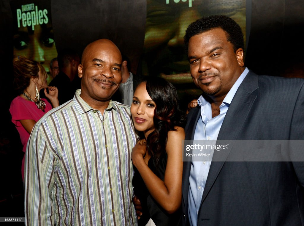 Actors <a gi-track='captionPersonalityLinkClicked' href=/galleries/search?phrase=David+Alan+Grier&family=editorial&specificpeople=206886 ng-click='$event.stopPropagation()'>David Alan Grier</a>, <a gi-track='captionPersonalityLinkClicked' href=/galleries/search?phrase=Kerry+Washington&family=editorial&specificpeople=201534 ng-click='$event.stopPropagation()'>Kerry Washington</a> and Craig Robinson pose at the after party for the premiere of Lionsgate Films and Tyler Perry's 'Peeples' at Lure on May 8, 2013 in Los Angeles, California.