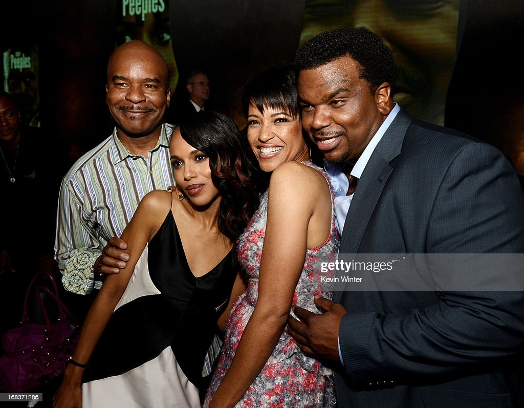 Actors David Alan Grier, Kerry Washington, director Tina Gordon Chism and actor Craig Robinson pose at the after party for the premiere of Lionsgate Films and Tyler Perry's 'Peeples' at Lure on May 8, 2013 in Los Angeles, California.