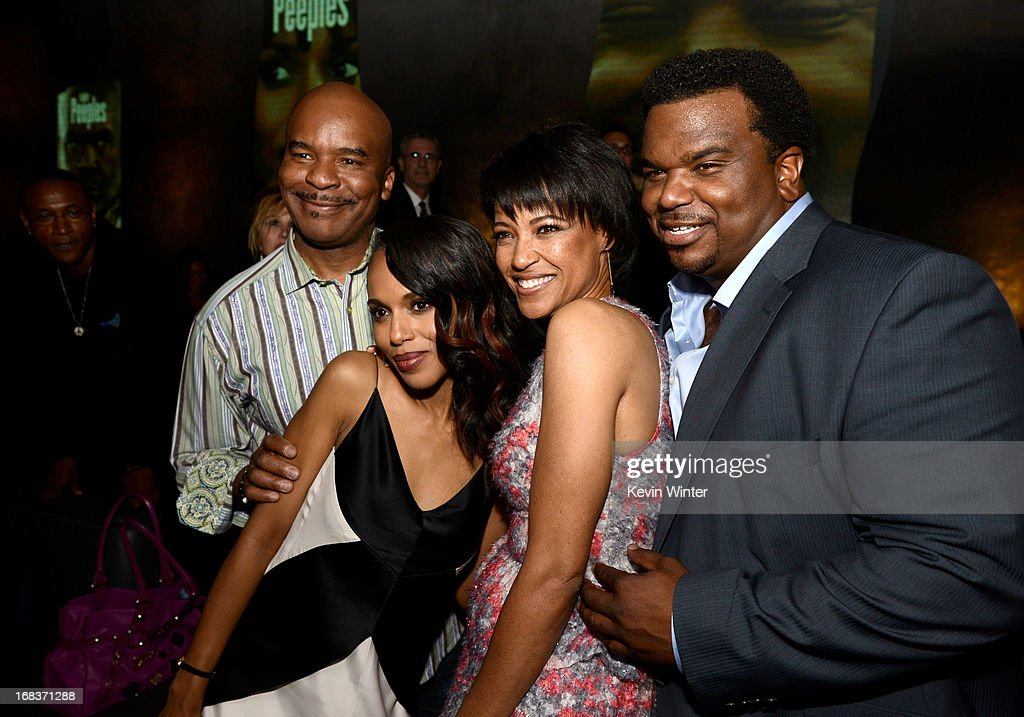 Actors <a gi-track='captionPersonalityLinkClicked' href=/galleries/search?phrase=David+Alan+Grier&family=editorial&specificpeople=206886 ng-click='$event.stopPropagation()'>David Alan Grier</a>, <a gi-track='captionPersonalityLinkClicked' href=/galleries/search?phrase=Kerry+Washington&family=editorial&specificpeople=201534 ng-click='$event.stopPropagation()'>Kerry Washington</a>, director Tina Gordon Chism and actor Craig Robinson pose at the after party for the premiere of Lionsgate Films and Tyler Perry's 'Peeples' at Lure on May 8, 2013 in Los Angeles, California.