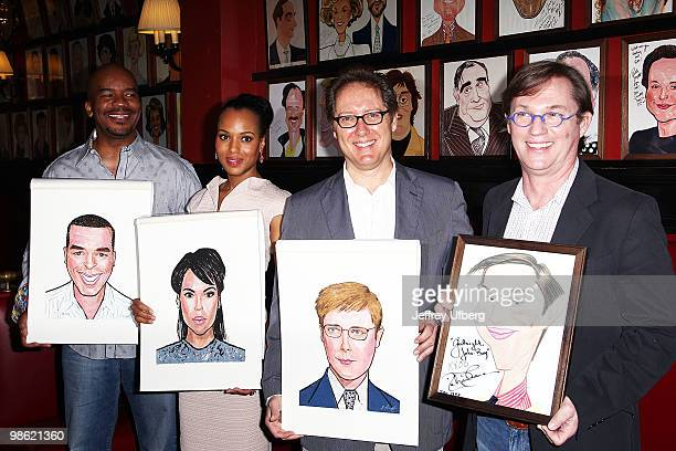 Actors David Alan Grier Kerry Washington James Spader and Richard Thomas attend the portrait unveiling for the cast of 'RACE' at Sardi's on April 22...