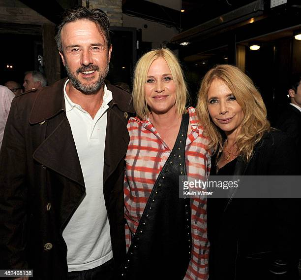Actors David Arquette Patricia Arquette and Rosanna Arquette pose at the after party for a special screening of 'Boyhood' at the Ipic Theatre on July...