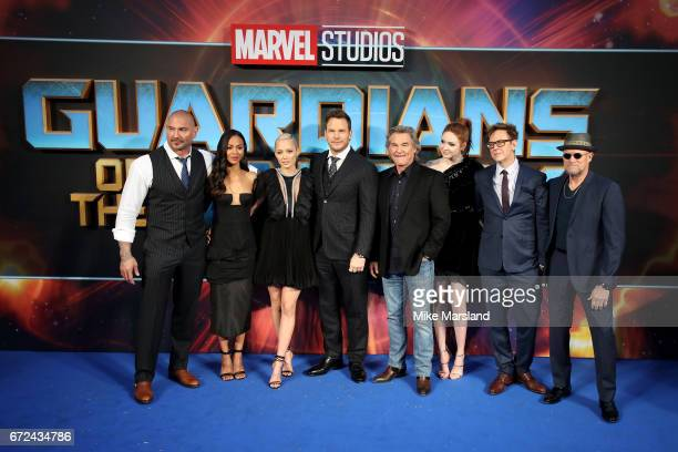 Actors David Bautista Zoe Saldana Pom Klementieff Chris Pratt Kurt Russel Karen Gillan director James Gunn and actor Michael Rooker attend the UK...