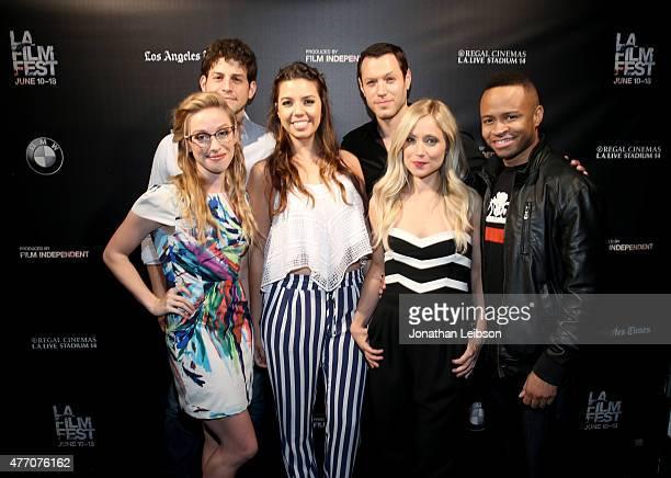 Actors David Blue Megan Lee Joy Jessica Sherif Dove Meir Emme Rylan and Eugene Byrd attend the 'Dude Bro Party Massacre III' and 'SheVenge'...