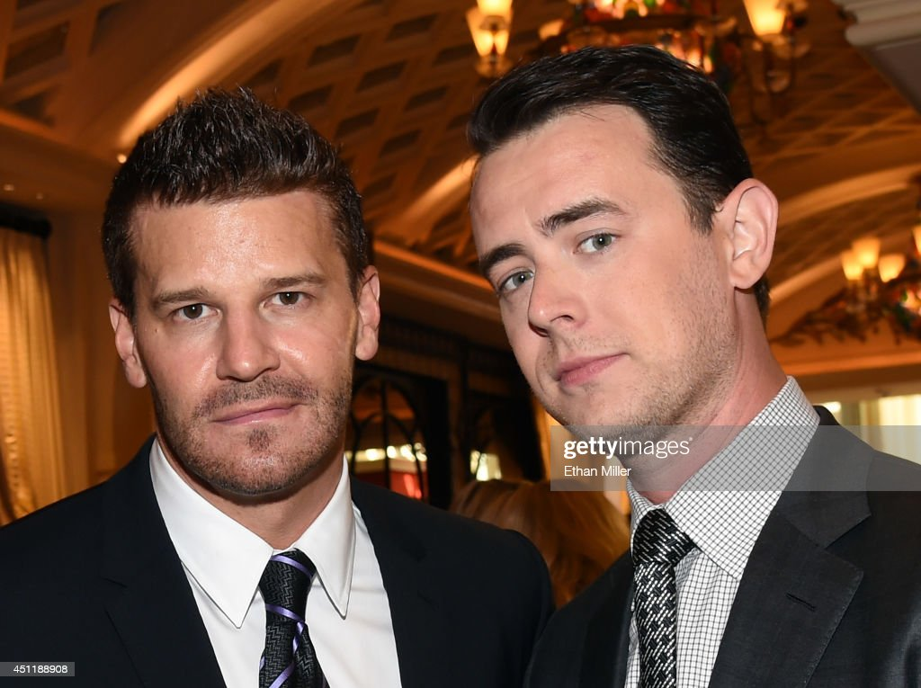 Actors <a gi-track='captionPersonalityLinkClicked' href=/galleries/search?phrase=David+Boreanaz&family=editorial&specificpeople=214055 ng-click='$event.stopPropagation()'>David Boreanaz</a> (L) and <a gi-track='captionPersonalityLinkClicked' href=/galleries/search?phrase=Colin+Hanks+-+Actor&family=editorial&specificpeople=584005 ng-click='$event.stopPropagation()'>Colin Hanks</a> arrive at the 2014 NHL Awards at Encore Las Vegas on June 24, 2014 in Las Vegas, Nevada.