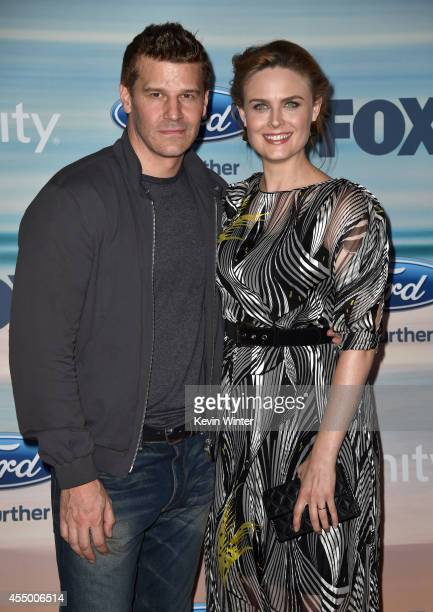 Actors David Boreanaz and Emily Deschanel attend the 2014 FOX Fall EcoCasino party at The Bungalow on September 8 2014 in Santa Monica California