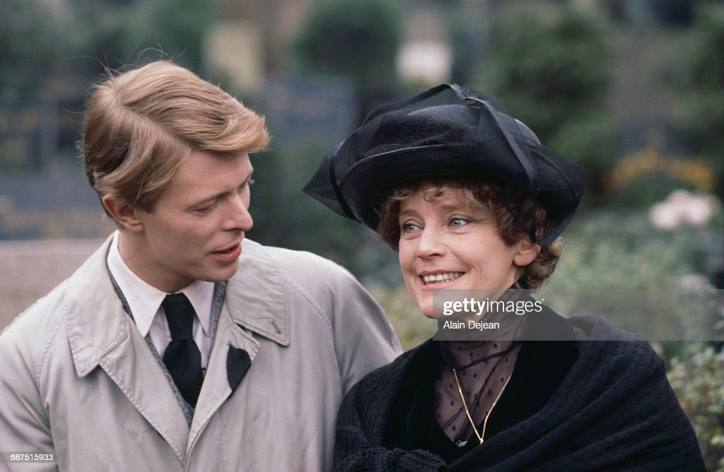 Actors David Bowie and Maria Schell on the set of David Hemmings' film 'Just a Gigolo', 21st December 1977.