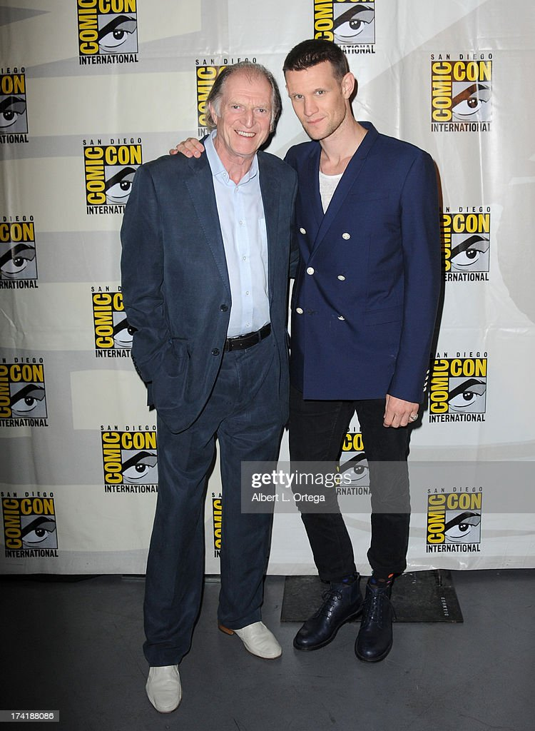 Actors David Bradley (L) and <a gi-track='captionPersonalityLinkClicked' href=/galleries/search?phrase=Matt+Smith+-+Acteur&family=editorial&specificpeople=6877373 ng-click='$event.stopPropagation()'>Matt Smith</a> speak onstage at BBC America's 'Doctor Who' 50th Anniversary panel during Comic-Con International 2013 at San Diego Convention Center on July 21, 2013 in San Diego, California.